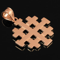 "Polished Pink Gold Jerusalem ""Crusaders"" Cross Pendant"