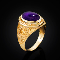 Yellow Gold Egyptian Ankh Cross Purple Amethyst Statement Ring