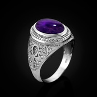White Gold Egyptian Ankh Cross Purple Amethyst Statement Ring