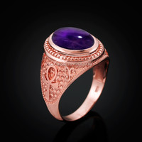 Rose Gold Egyptian Ankh Cross Purple Amethyst Statement Ring