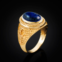 Yellow Gold Egyptian Ankh Cross Lapis Lazuli Statement Ring