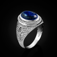 White Gold Egyptian Ankh Cross Lapis Lazuli Statement Ring