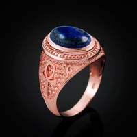 Rose Gold Egyptian Ankh Cross Lapis Lazuli Statement Ring
