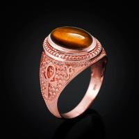 Rose Gold Egyptian Ankh Cross Tiger Eye Statement Ring