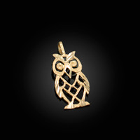 Yellow Gold Owl Filigree DC Charm Necklace