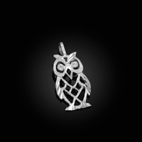White Gold Owl Filigree DC Charm Necklace