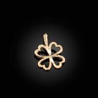 Yellow Gold Tiny Irish Shamrock Clover DC Charm Necklace