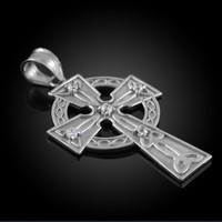 White Gold Celtic Trinity Diamond Cross Pendant