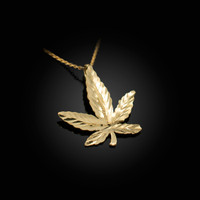 Yellow Gold Marijuana Leaf Cannabis DC Charm Necklace