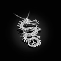 White Gold Textured  Dragon DC Charm Necklace