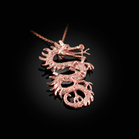 Rose Gold Textured  Dragon DC Charm Necklace