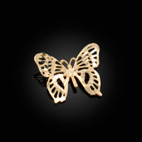 Yellow Gold Butterfly Filigree DC Charm Necklace