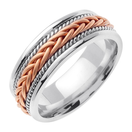 Hand Braided Two Tone White Rose Gold Wedding Band