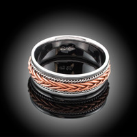 Hand Braided Two-tone White & Rose Gold Wedding Band