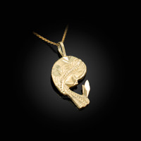 Yellow Gold Praying Virgin Mary DC Charm Necklace