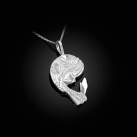 White Gold Praying Virgin Mary DC Charm Necklace