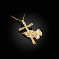 Yellow Gold Praying Hands Cross DC Charm Necklace
