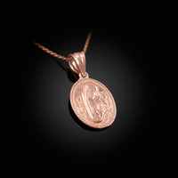 Rose Gold Praying Virgin Mary Medallion Charm Necklace
