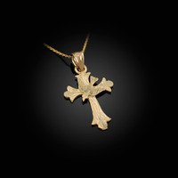 Yellow Gold Holy Spirit Dove Cross DC Charm Necklace