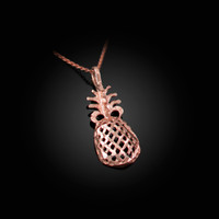 Rose Gold Pineapple Filigree DC Charm Necklace