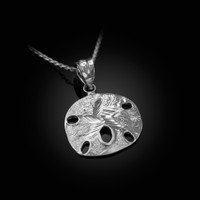 White Gold Sand Dollar DC Charm Necklace