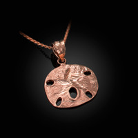 Rose Gold Sand Dollar DC Charm Necklace