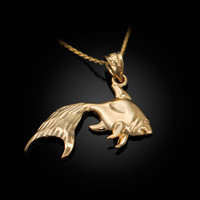 Polished DC Yellow Gold Goldfish Pendant Necklace