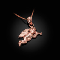 Polished Rose Gold Trumpeting Angel DC Charm Necklace