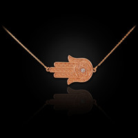 14K  Rose Gold Sideways Hamsa Diamond Necklace