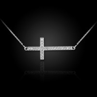 14K White Rose Gold Sideways Diamond Cross Pendant Necklace
