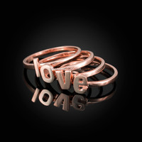 Rose Gold Personalized Initial Alphabet Letter Stackable Ring