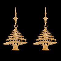 14K Yellow Gold Cedar Tree of Lebanon Earrings
