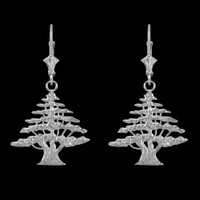 14K White Gold Cedar Tree of Lebanon Earrings