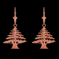 14K Rose Gold Cedar Tree of Lebanon Earrings