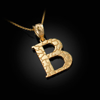 "Yellow Gold Nugget Initial Letter ""B"" Pendant Necklace"