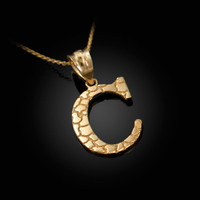 "Yellow Gold Nugget Initial Letter ""C"" Pendant Necklace"