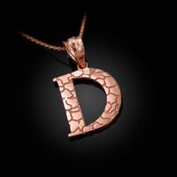 "Rose Gold Nugget Initial Letter ""D"" Pendant Necklace"