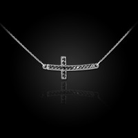 14K White Gold Sideways Black Diamond Cute Curved Cross Necklace