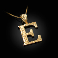 "Yellow Gold Nugget Initial Letter ""E"" Pendant Necklace"
