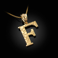 "Yellow Gold Nugget Initial Letter ""F"" Pendant Necklace"