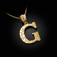 """Yellow Gold Nugget Initial Letter """"G"""" Pendant Necklace"""