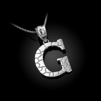 "White Gold Nugget Initial Letter ""G"" Pendant Necklace"