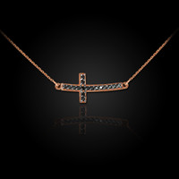 14K Rose Gold Sideways Black Diamond Cute Curved Cross Necklace