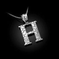 "White Gold Nugget Initial Letter ""H"" Pendant Necklace"
