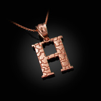 "Rose Gold Nugget Initial Letter ""H"" Pendant Necklace"