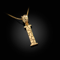 """Yellow Gold Nugget Initial Letter """"I"""" Pendant Necklace"""