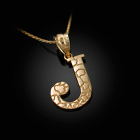 "Yellow Gold Nugget Initial Letter ""J"" Pendant Necklace"