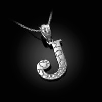 "White Gold Nugget Initial Letter ""J"" Pendant Necklace"