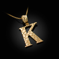 "Yellow Gold Nugget Initial Letter ""K"" Pendant Necklace"