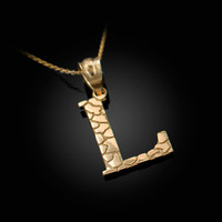 """Yellow Gold Nugget Initial Letter """"L"""" Pendant Necklace"""